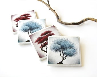 Red and Blue Abstract Tree Coasters Decorative Tile Art set of 4, Nature Home Decor