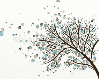 Brown and Blue Home Decor  Blowing Tree Wall Art Print, 8 x 10 Wall Decor (238)