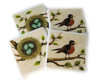 Red Robin Bird Eggs Decorative Tile Set of 4 Coasters, Nature Home Decor