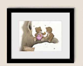 5 x 7 Pink Wall Decor Baby Girls Nursery Art Print, Teddy Bear Wall Art Childrens Print (99)