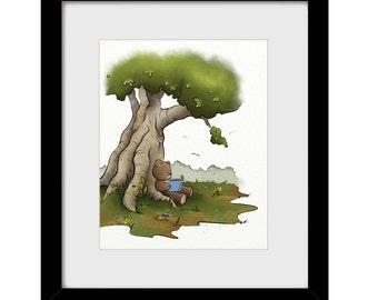 Teddy Bear Reading Books Nursery Art Print 8 x 10, Nature Inspired Childrens Wall Art, Girls or Boys Room Art  (262)
