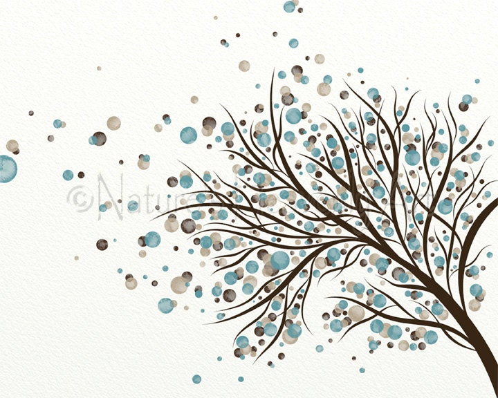 Brown And Blue Home Decor Blowing Tree Wall Art Print 8 X 10