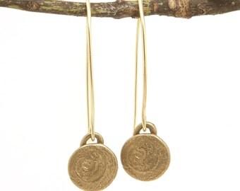 Spiral Earrings - Round Earrings - Long Earring - Rustic Earring - Boho Chic Jewelry - Gold Charm Earrings - Sahara Sun Dangles (EB-SP-ML)