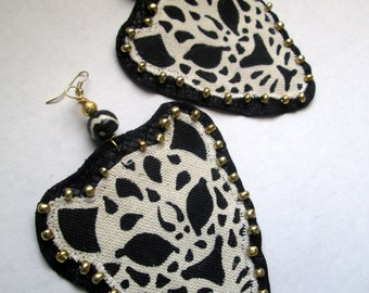 Leopard Queen- Hand painted Statement earrings