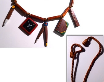 Back to School. 1940s Wooden School House Novelty Necklace. Pencil, Slate, Compass, Ruler, Book. WWII Era.