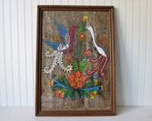 Vintage Mexican Folk Art Bark Painting Colorful Birds in Large Glass and Wood Frame