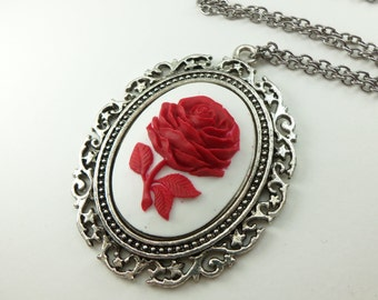 Antiqued Silver Large Statement Red Rose Cameo Necklace Oversized Conversation Piece Red White Pendant