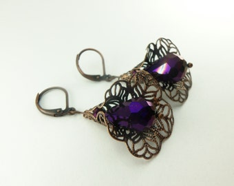 Dark Purple Dangle Earrings Copper Dangle Earrings Royal Purple Earrings Metallic Antiqued Copper