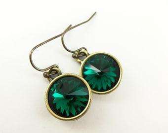 Antiqued Brass Emerald Birthstone Earrings Dangle Drop Green Crystal