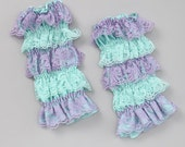Anniversary Sale. Infant/Toddler  Lace leg warmers, Lavender & Aqua  suggested age 6 months-6 years