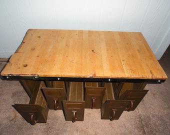 Industrial Coffee Table File Drawers Storage Organizer Wood Top Rolling Casters Steel Repurposed