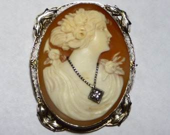 Victorian 14K High Relief Diamond Necklace Cameo Pin Pendant Brooch on Etsy