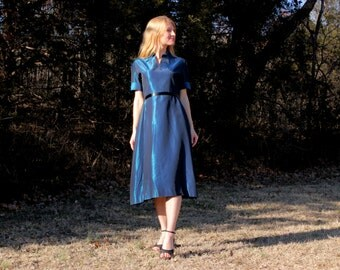 Vintage 1950s Dress in Metallic Blue Taffeta . Mid Century Mad Men Style Womens Small / Medium