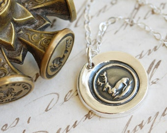 Stag Victorian Wax Seal Necklace - Fine Silver, Sterling Silver