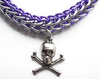 Skull bracelet, Skull and crossbones, Pirate jewelry, Chainmaille Full Persian bracelet, Purple and silver, Gothic jewelry