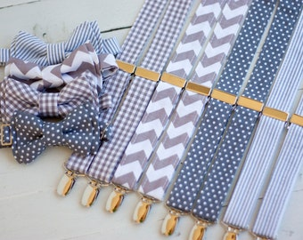 The Beau- gray collection- bow tie/suspender set for boys of all age- choose your favorite set- nickel hardware/not brass