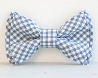 The Beau- men's gray gingham double stacked pre-tied bow tie- choice of adjustable strap or bow tie clip
