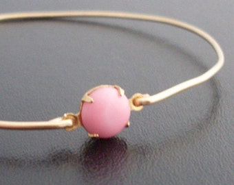 Bangle Bracelet Risa - Gold Tone, Pink