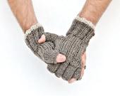 Men's fingerless gloves natural colors gift for him Christmas mens gift mittens