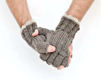 Men's fingerless gloves - natural colors - gift for him - Christmas
