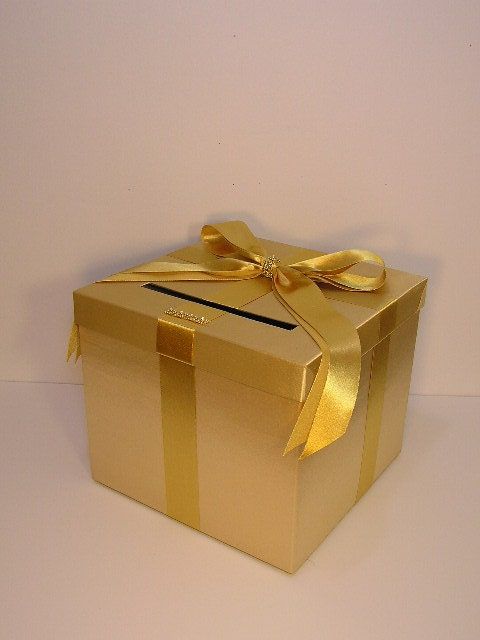 Gift Box Gold : Wedding card box gold gift money by bwithustudio