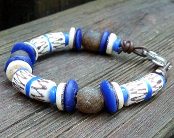 White Recycled Glass Bracelet - White Recycled Glass Krobo Beads, Brown Recycled Glass Beads, Brown Leather Bracelet