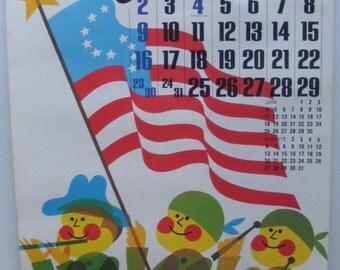 Vintage July 1972 calendar poster