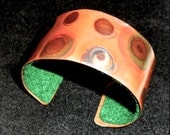 Copper bracelet, bronze, polka dot copper  cuff jewelry