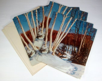 Set Vintage Christmas Greeting Cards, Holiday Cards, Snowy Woods, Set of Six  (2871)