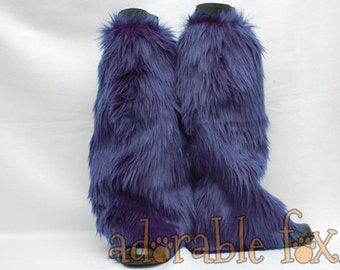 Navy Blue Monster Leg Warmers / Fluffies / Boot Covers - Cosplay / Furry / Animal / Rave