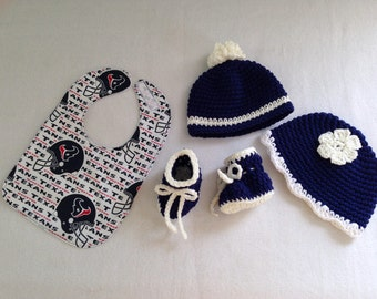 Houston Texans baby gift set(size 0 to 6 months or 6 to 12 months)and (2 hat styles)