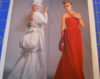 Vintage 80s Vogue Designer Sassoon Bustle Party Dress Steampunk sewing Pattern sz 16 38