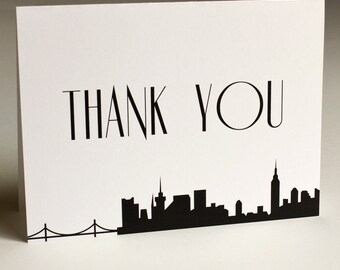 NYC Thank You Card Skyline City New York Wedding Event A6 Folded Customizeable