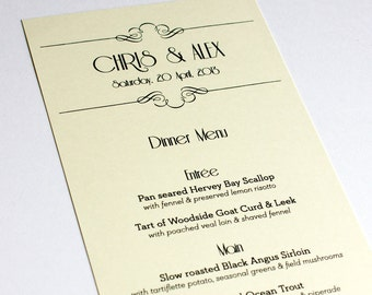 Art Nouveau Menu Cards Wedding Custom Handmade Bridal Sign Table Setting Gatsby Roaring Twenties