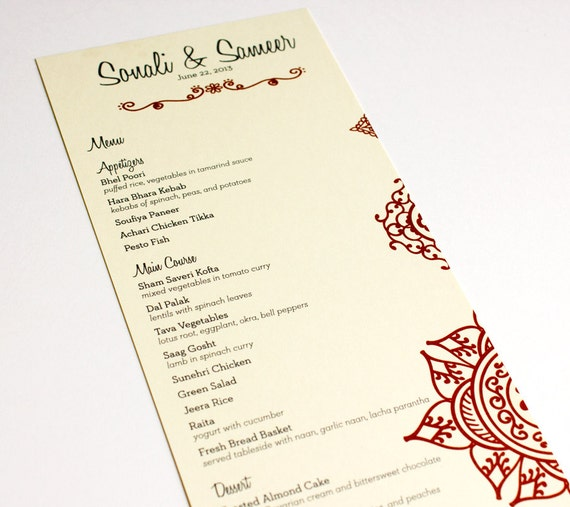 Mehndi Henna Wedding Menu Cards Indian Eastern Bohemian Custom Table ...
