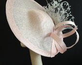 Oyster Pink & Silver Saucer - Beautiful saucer hat perfect for a wedding or the races, can be made in other colours