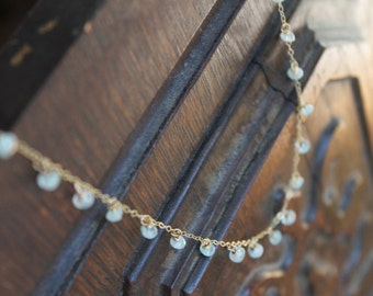 Pontevedra Dainty Dew Drop Aquamarine Birthstone Necklace on Gold Filled Chain - Feminine and Exotic - Or Customize for Your Wedding