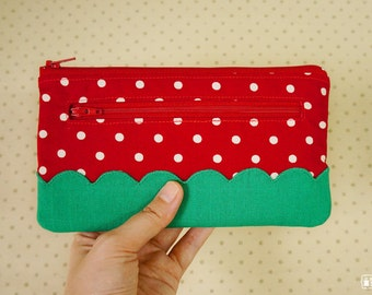 Red polka dot with green scalloped borders zip wallet