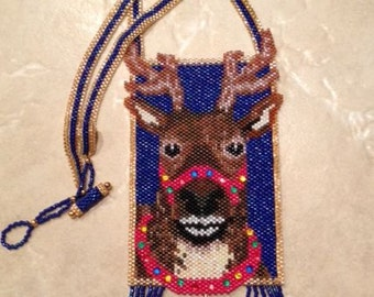 Beaded Reindeer Amulet Pouch