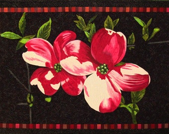 Pink Blossoms Original Art Quilt by Lenore Crawford