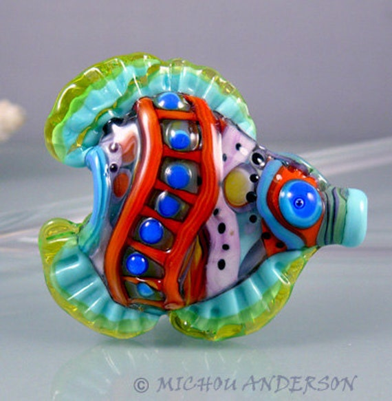 Funky trumpet fish art glass focal bead by michou p for Anderson art glass