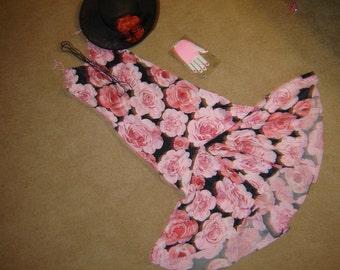 20's GATSBY  flapper bias rose print day slip dress beads hat Halloween COSTUME womens S