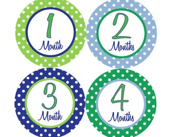 Baby Month Stickers Monthly Milestone Stickers Baby Boy Blue Green Polka Dot First Year Month Stickers Baby Shower Gift and Photo Prop - Ed