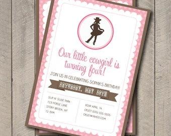 Cowgirl Birthday Party Invite - Pink & Brown Cowgirl Invitation - Digital Printable Invite - Western Theme