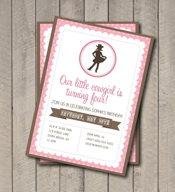 product search: cowgirl birthday party | catch my party, Party invitations