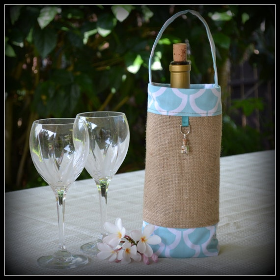 Wedding Gift Bags Beach Theme : Spa Blue Beach Theme Wine Gift Bag - Wedding Favor - Holiday Gift ...