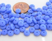 Periwinkle Blue Czech Rondelle Glass Beads 6mm Wafer Disc 50