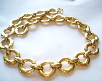 Chain Link Gold Tone  Necklace