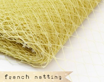 Golden Sand - French Netting - Millinery Hat Veiling, birdcage veil, feather fascinator.