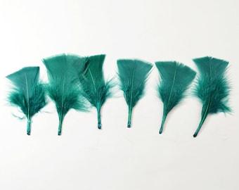 12pcs Turkey Flat Feathers-Emerald